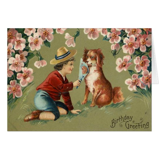 Victorian Boy w/Dog Birthday Greeting Card