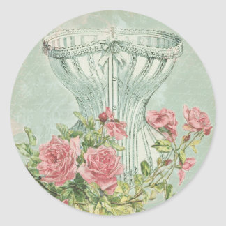 Victorian Bridal Shower Decor Chic Vintage Corset Round Sticker