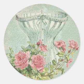 Victorian Bridal Shower Decor Chic Vintage Corset Round Sticker