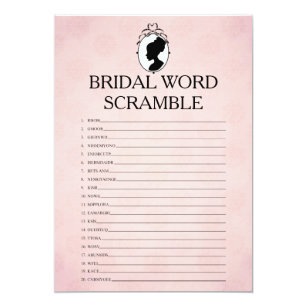 victorian bridal shower word scramble game card