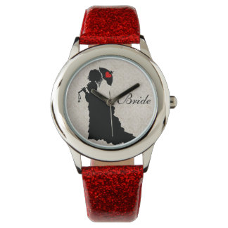 Victorian Bride - Red Glitter Watch