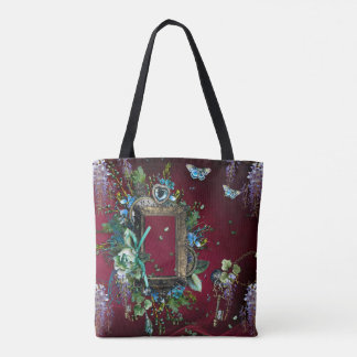 Victorian Burgundy Mist Lavender Wisteria frame Tote Bag
