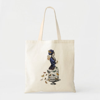 Victorian Butterfly Birdcage Steampunk Woman Tote Bags