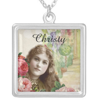 Victorian Cabbage Roses Woman Floral Necklace