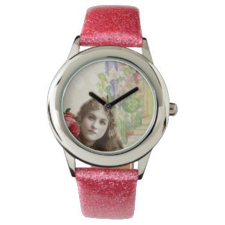 Victorian Cabbage Roses Woman Floral Pink Glitter Wristwatch