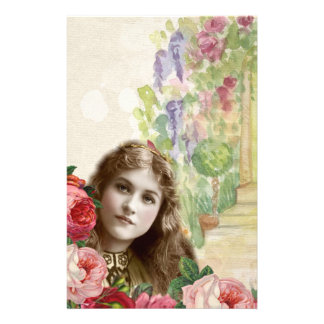 Victorian Cabbage Roses Woman Floral Stationery