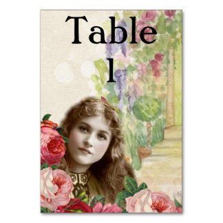 Victorian Cabbage Roses Woman Floral Tablecard Table Cards