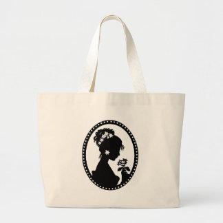Victorian Cameo Silhouette Jumbo Tote Bag