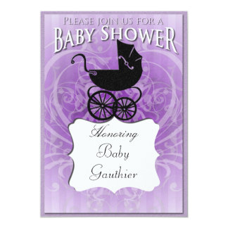 Victorian Carriage Purple Baby Shower Invitation