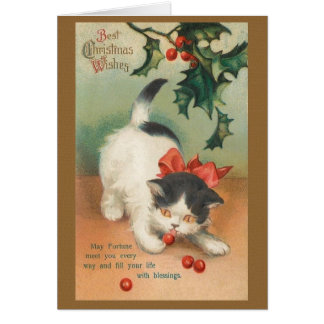 Victorian Cat Christmas Greeting Card