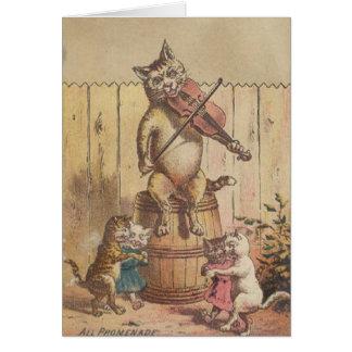 Victorian Cat Promenade Square Dance Note Card