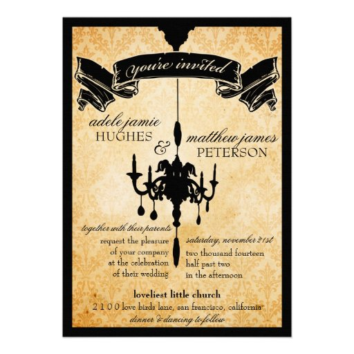 Victorian Chandelier • black & cream Wedding Custom Announcements