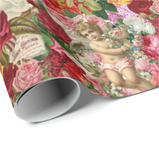 Victorian Cherub and Roses Scrapbook Chintzy Retro Wrapping Paper