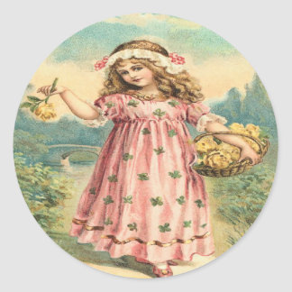 Victorian Child Clover St. Patrick's Day Stickers