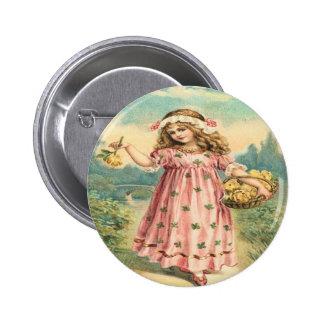 Victorian Child Clover St. Patrick's Pin Button