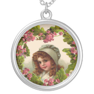 Victorian Child Leaves of Clover Sterling Silver N Round Pendant Necklace