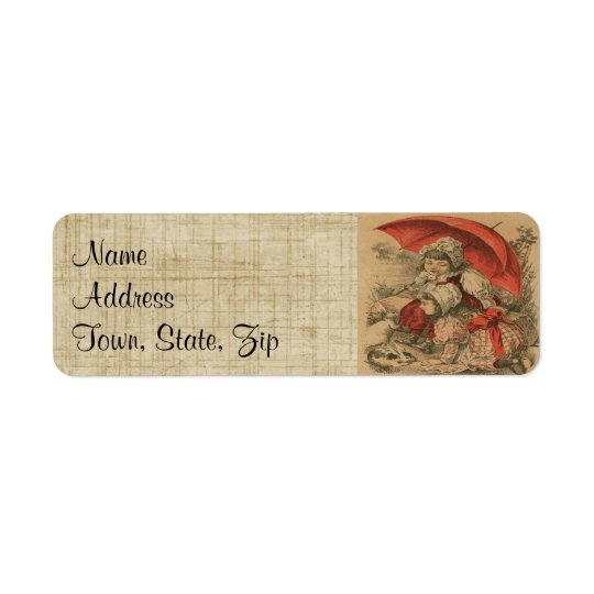Victorian Child W/Bunnies Return Address Labels