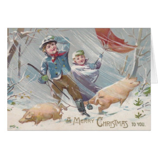 Victorian Children and Pigs Christmas Card