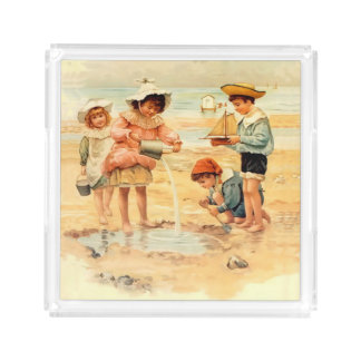 Victorian Children Beach Seashore Sandcastles Acrylic Tray