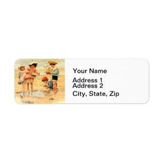 Victorian Children Beach Seashore Sandcastles Return Address Label