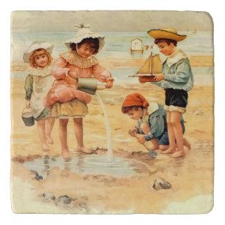 Victorian Children Beach Seashore Sandcastles Trivet
