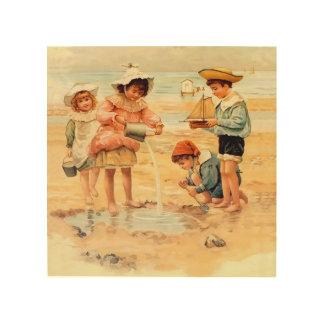 Victorian Children Beach Seashore Sandcastles Wood Wall Art