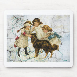 Victorian Children Dog Playing Hide Seek Mouse Pad
