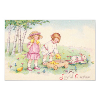Victorian Children Easter Chick Bunny Field Photograph