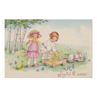 Victorian Children Easter Chick Bunny Field Poster