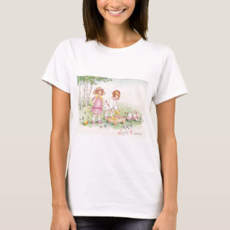 Victorian Children Easter Chick Bunny Field T-Shirt
