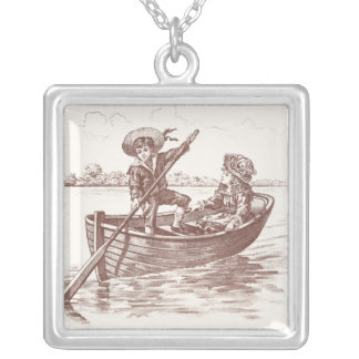 Victorian Children in Rowboat Silver Plated Necklace