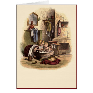Victorian Children No 9 Bath Time Card