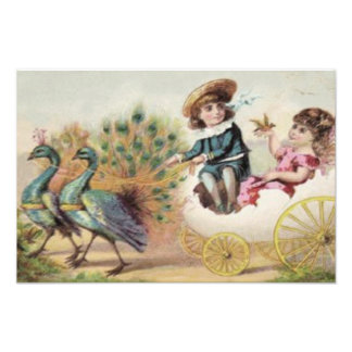 Victorian Children Ostrich Easter Egg Photo Print
