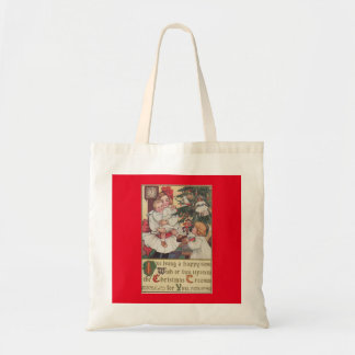 Victorian Children Vintage Christmas Tote Bag