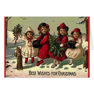 Victorian Christmas Card Children