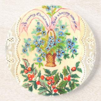 Victorian Christmas Card Drink Coaster