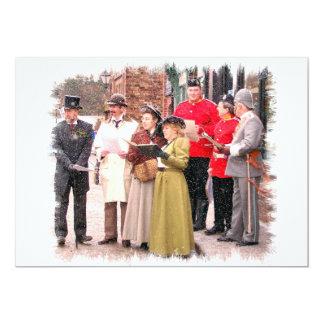 VICTORIAN CHRISTMAS CAROL SINGERS 13 CM X 18 CM INVITATION CARD