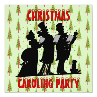 Victorian Christmas Carolers Caroling Party 13 Cm X 13 Cm Square Invitation Card