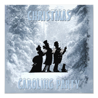 Victorian Christmas Caroling Party Blue Snow Card