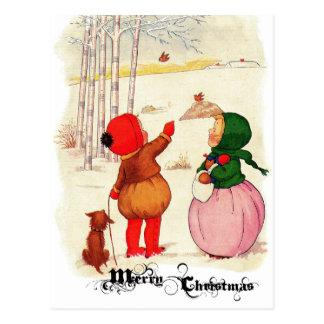 Victorian Christmas Children Postcard
