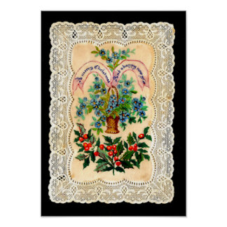 Victorian Christmas Greeting Card Poster
