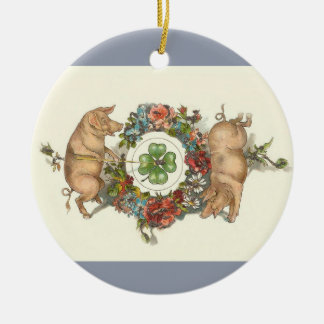 Victorian Christmas Ornament - Two Pigs w/ Clover
