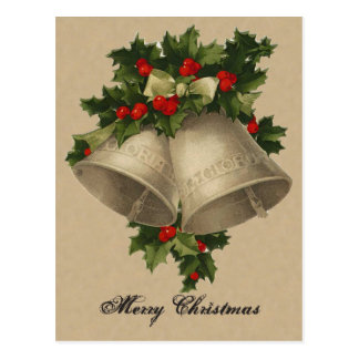 Victorian Christmas Silver Bells Postcard