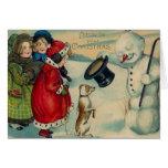 Victorian Christmas Snowman and Dog Christmas Card