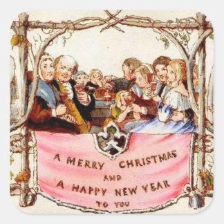 Victorian Christmas Square Sticker