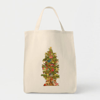 Victorian Christmas Tree Grocery Tote Bag