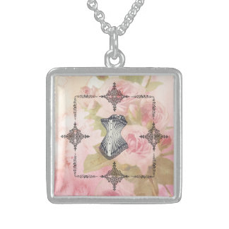 Victorian Corset And Frame with floral Backround! Sterling Silver Necklace