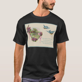 Victorian Cottage Bluebird Mother's Day Card T-Shirt