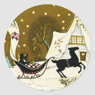 Victorian Country Christmas Round Sticker