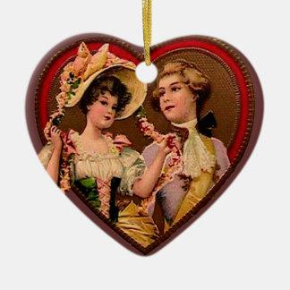 Victorian Couple in Heart Ornament